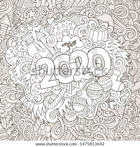 2020 hand drawn doodles contour line illustration. New Year poster. Stock photo © balabolka