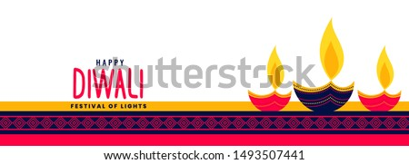 beautiful happy diwali long banner with decorative three diya la Stock photo © SArts