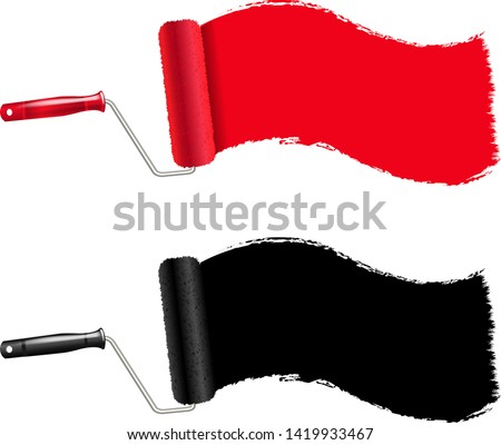 Red And Black Paint Roller And Paint Stroke Transparent Backgrou Stock photo © adamson