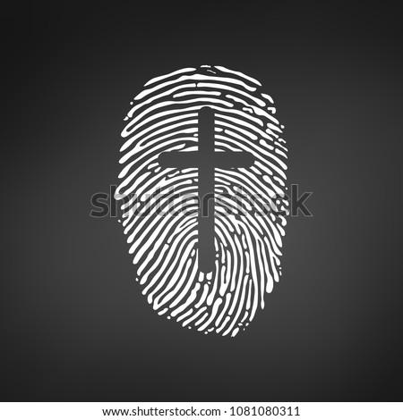 большой палец руки отпечатков пальцев крест христианской личности Сток-фото © kyryloff