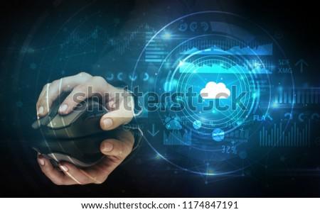 Hand wolk technologie online opslag Stockfoto © ra2studio