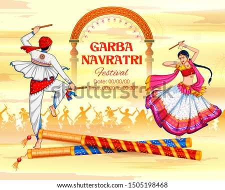promotional banner for dandiya in disco garba night poster for navratri dussehra festival of india stock photo © vectomart