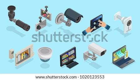 surveillance video camera home security system vector illustrati Stock photo © konturvid