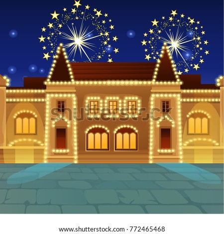fireworks on the square old royal castle sample of poster party holiday invitation festive banner stock photo © lady-luck