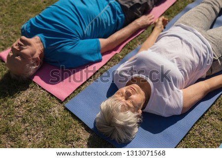 High angle view of active senior woman performing yoga position on yoga mat  in the park Stock photo © wavebreak_media