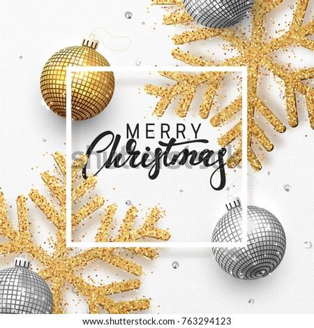 Vrolijk christmas luxe banner gouden tekst Stockfoto © Iaroslava