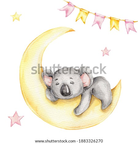 Cute watercolor koala, isolated illustration good for baby clothes print, children greeting card Stock photo © bonnie_cocos