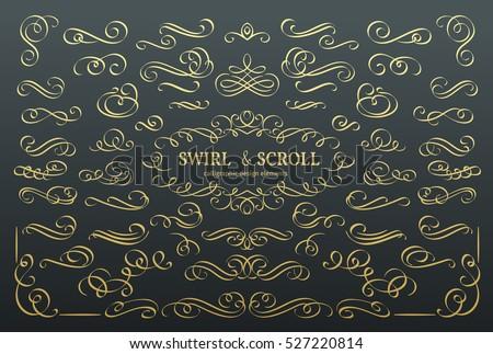 Golden ornamental calligraphic design element in vintage style Stock photo © blue-pen