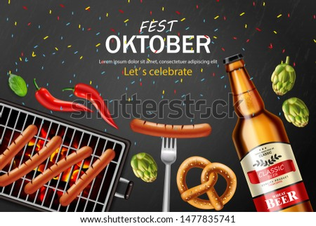 October fest poster Vector realistic. Pretzel and grill sausage  Stock photo © frimufilms
