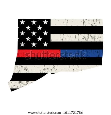 Connecticut policji strażak wsparcia banderą amerykańską flagę Zdjęcia stock © enterlinedesign
