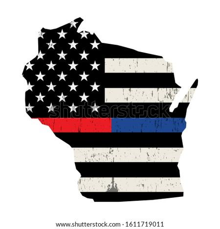 Wisconsin policji strażak wsparcia banderą amerykańską flagę Zdjęcia stock © enterlinedesign