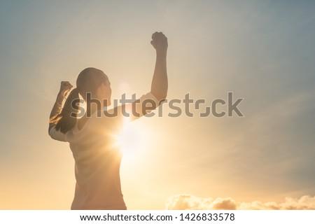 Menschen Erfolg Leistung Bestimmung glücklich Frau Stock foto © vkstudio