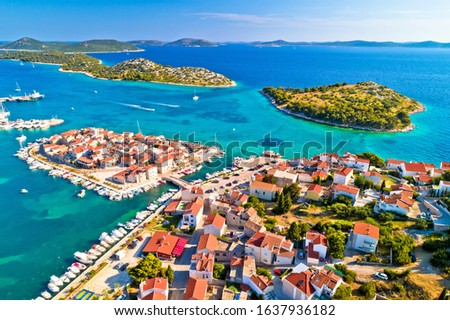 Old town of Tribunj and archipelago of central Dalmatia aerial v Stock photo © xbrchx