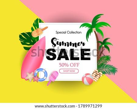 Nyár vásár terv virág tengerparti nyaralás elemek Stock fotó © articular
