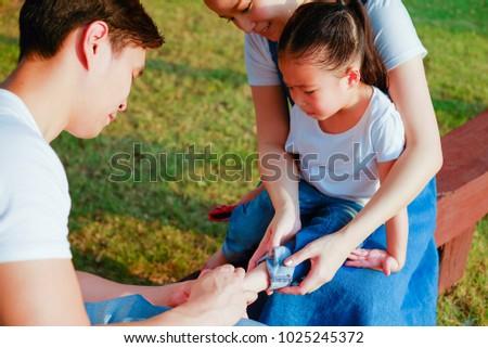 Kép fiatalember trauma fájdalom játszótér kint Stock fotó © deandrobot