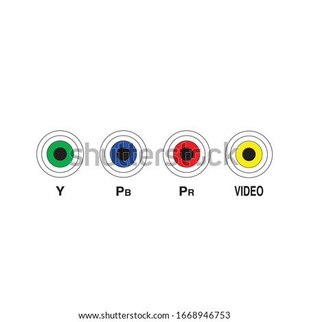 Television and other Technical devices RCA ports. Y Pb Pr video ports indication. Stock Vector illus Stock photo © kyryloff