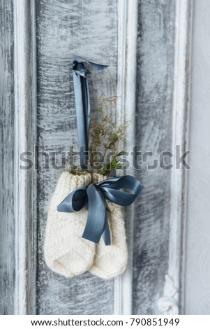 Photo of two knitted warm mittens hanging, decorated with twig of firtree and ribbon. Warm winter cl Stock photo © vkstudio