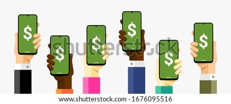 смартфон человеческая рука послать деньги Сток-фото © karetniy
