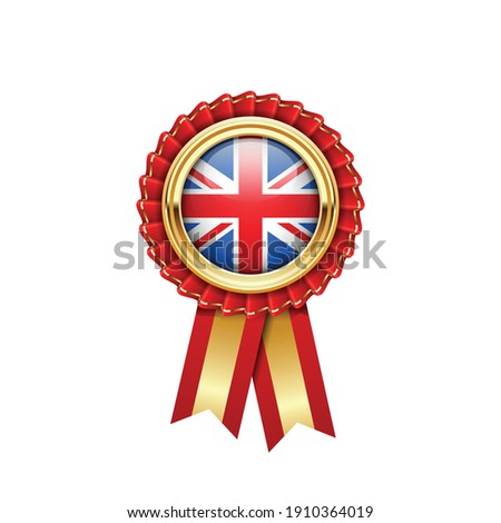 Red rosette with Great Britain flag in gold badge, Britain award Stock photo © gomixer