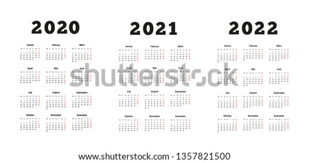 Set of A4 size vertical simple calendars in german at 2020, 2021, 2022 years isolated on white Stock photo © evgeny89