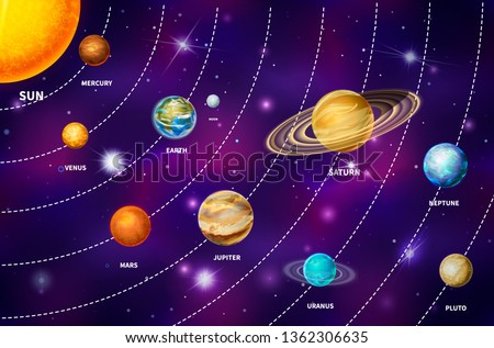 Realistic Jupiter planet on colorful deep space background with bright stars and constellations Stock photo © evgeny89