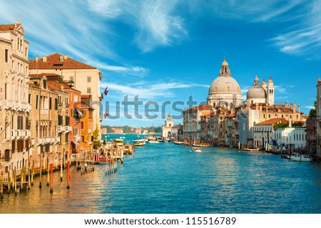 Grand Canal with gondolas in Venice, Italy. Sunset view of Venic Stock photo © hsfelix