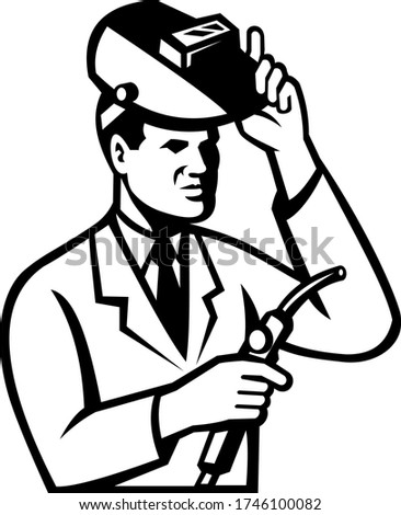 Scientist Researcher With Welding Torch and Welder Visor Black and White Stock photo © patrimonio