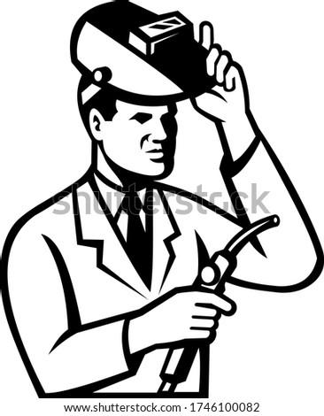 Scientifique chercheur soudage lampe de poche blanc noir Photo stock © patrimonio