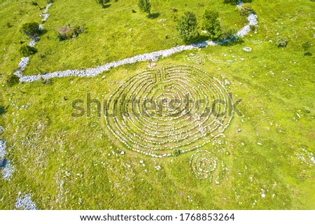Celestial Labyrinths stone mazes high in mountains above Novi Vi Stock photo © xbrchx