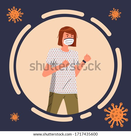 Avatar of young woman wearing face protective mask, flying virus pathogen around, icon for website Stock photo © robuart