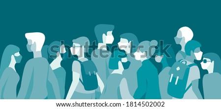 Menge Menschen Gesicht medizinischen Masken viralen Stock foto © robuart