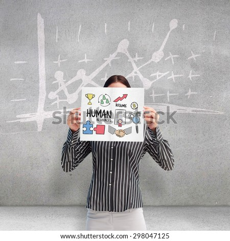 Young businesswoman showing her business card - sitting at her o Stock photo © HASLOO