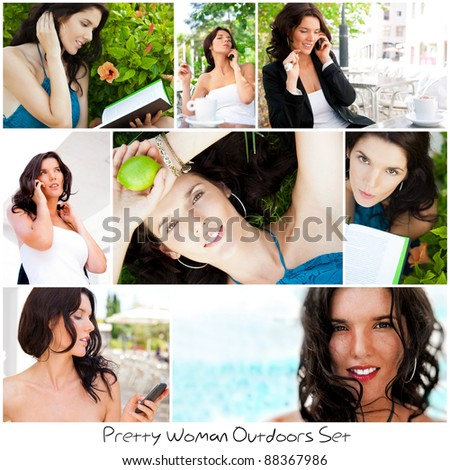set of different photo young pretty woman lifestyle beach coll stock photo © hasloo