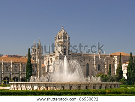Monastery View across gardens Belem Lisbon Portugal Stock photo © pixelmemoirs