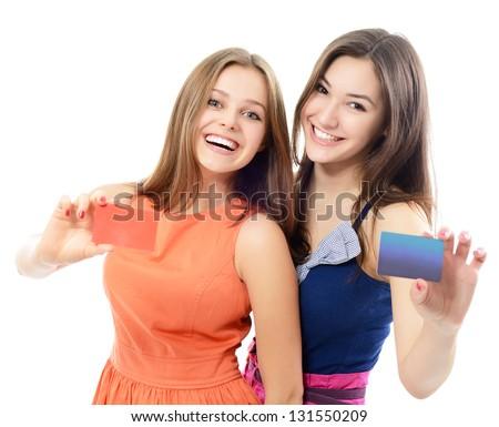Dois feliz adolescente amigos olhando Foto stock © rosipro