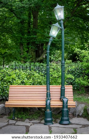 Wooden bench in Valentino Park. Turin, Italy. Stock photo © rglinsky77