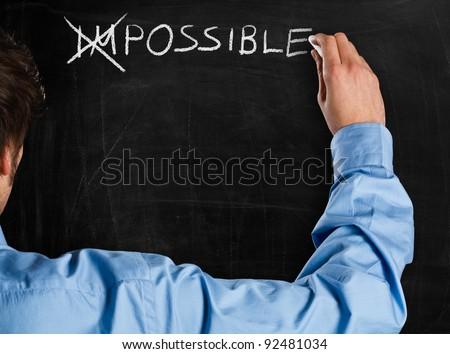 verandering · onmogelijk · mogelijk · zakenvrouw · Rood · zwarte - stockfoto © dacasdo