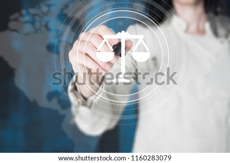 silhouette of woman touching data protection button with fingerp stock photo © wavebreak_media