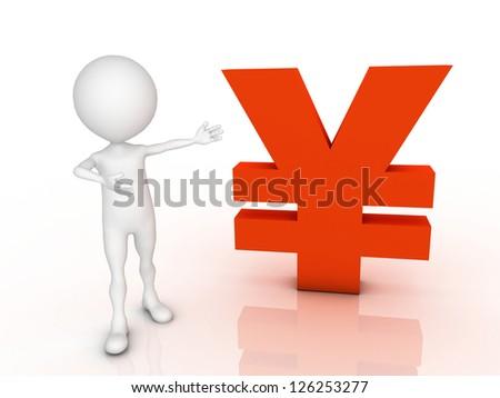 White 3d man near the yen. Isolated render on a white background Stock photo © dacasdo