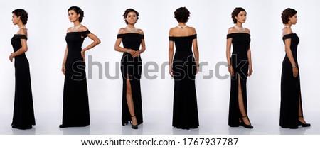 Kadın siyah elbise güzel sarışın kız Stok fotoğraf © taden