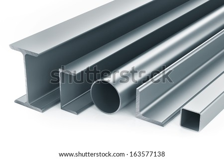 metal pipe girders angles channels and square tube on a white background stock photo © cherezoff