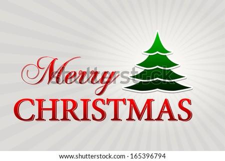 merry christmas with christmas tree over silver rays, horizontal Stock photo © marinini