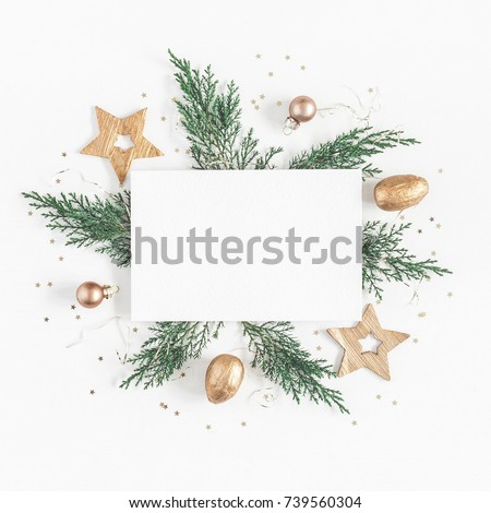 blank postcard, Christmas balls and fir-tree isolated on white b Stock photo © tetkoren