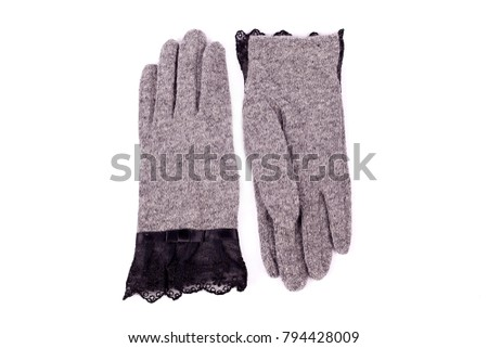 Beautiful grey suede (leather) women's gloves and color neckerch Stock photo © tetkoren