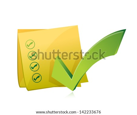 Yellow Check List Post Illustration Design Over A White Backgrou Сток-фото © alexmillos