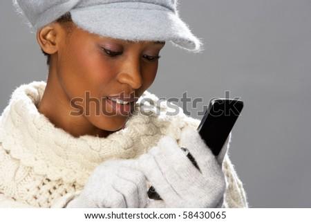 caliente · gris · lana · de · punto · sombrero · hermosa - foto stock © monkey_business