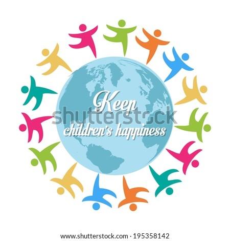 vecteur · enfants · autour · monde · main · lumière - photo stock © balasoiu