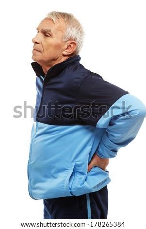 Idős férfi képzés öltöny érzés fájdalom Stock fotó © Nejron