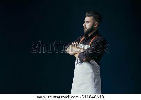 Portré kaukázusi férfi szakács egyenruha kifejez Stock fotó © HASLOO