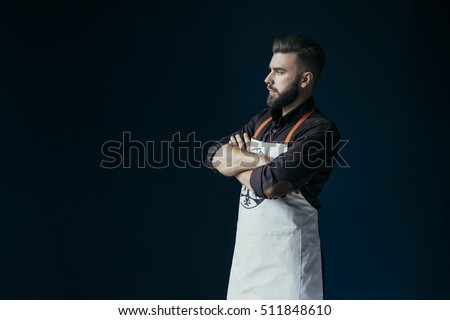 Portrait of caucasian man with chef uniform expressing positivit Stock photo © HASLOO